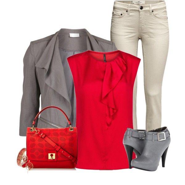 Red with Grey Blazer