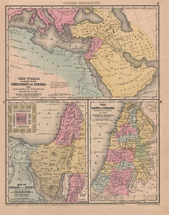 Antique map of the holy land as known to the childen of israel by antique map of the holy land as known to the childen of israel by patternsnprints 795 gumiabroncs Images