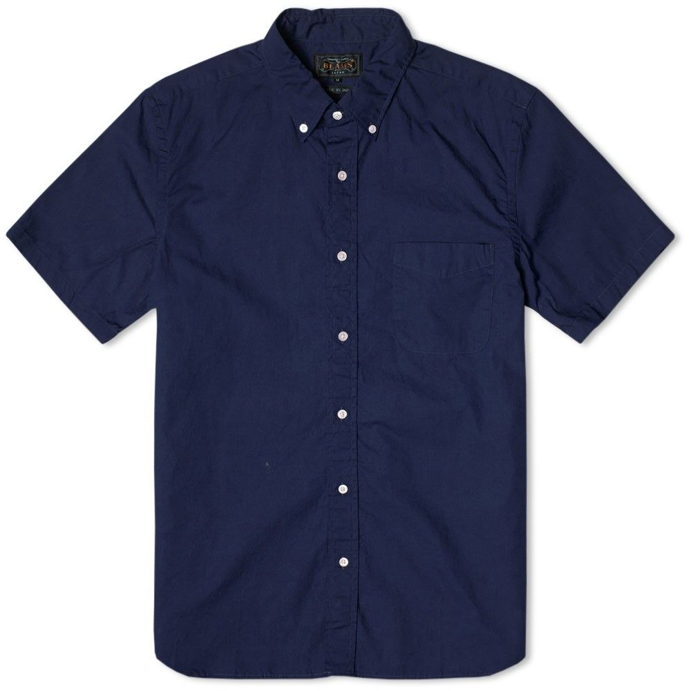 Beams Plus Button Down Broadcloth Short Sleeve Shirt (Navy ...