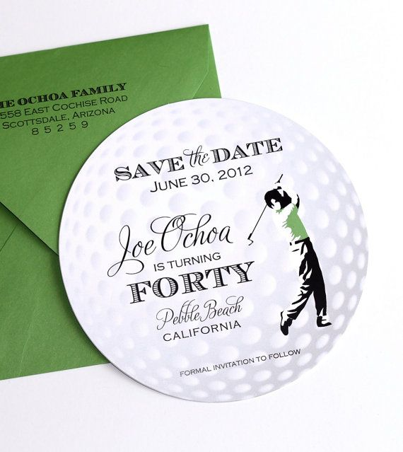 Golf ball save the date card golf invitation golf themed party golf ball save the date card golf invitation golf themed party golf party invite 40th birthday party golf ball invitation sample stopboris Gallery