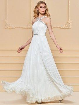 A Line Beaded Halter Long Prom Dress #PromDresses #A #Line #Beaded #Halter #Long #Prom #Dress