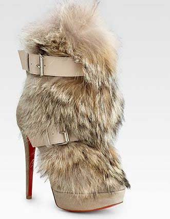 4e08e7d70109 Scary Shoes  Christian Louboutin Toundra Coyote-Fur Trimmed Suede ...