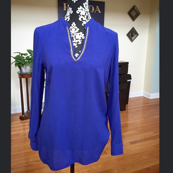 NWT Nicole Miller Beaded blouse, S Beautiful blouse in cool alt blue with gold beading. Size S Nicole by Nicole Miller Tops Blouses