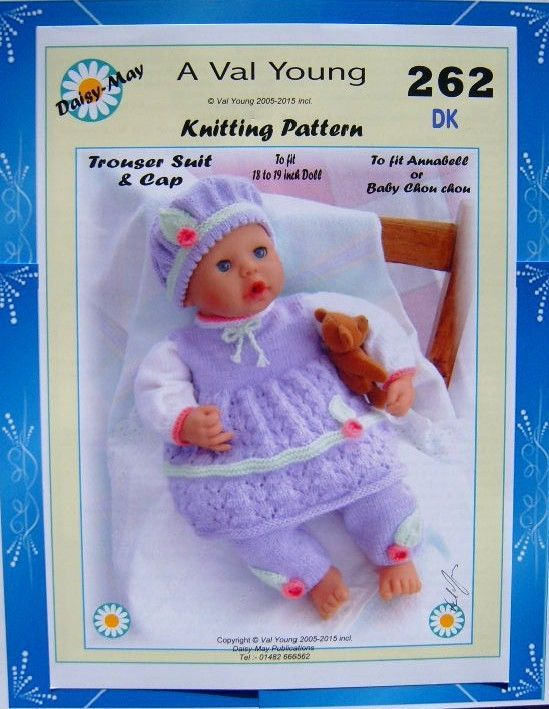 1 New Dolls Knitting Pattern 18 19inch Annabell Doll No 262 Val