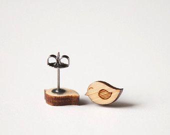 Love Bird Earrings | Bird Earring Studs | Wood Earring Stud | Wooden Earring Studs | Hypoallergenic Earring Studs | Titanium Earring Studs