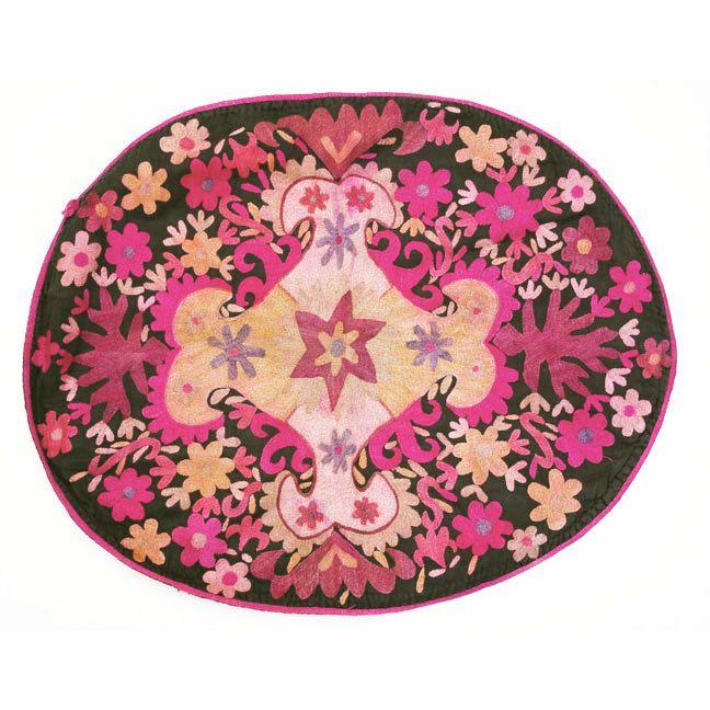Uzbek Suzani Silk Wedding Saddle Cover.