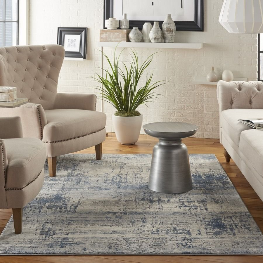 Rustic Textures Rus10 Ivory Blue Machine Made Polypropylene Rug In 2020 Rugs In Living Room Blue Area Rugs Rustic Rugs