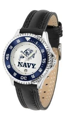Naval Academy Midshipmen Women's Leather Sports Watch by SunTime. $68.95. Date Calendar And Rotating Bezel. Officially Licensed Navy Midshipmen Women's Leather Sports Watch. Adjustable Band. Poly/Leather Band. Women. Naval Academy Midshipmen Women's Leather Sports Watch. The Midshipmen wris watch features functional rotating bezel color-coordinated to compliment team logo. A durable, long-lasting combination nylon/leather strap, together with a date calendar, rou...