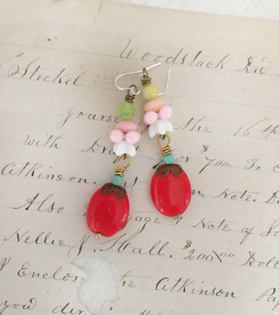 berryupcycled dangle glass beaded earrings assemblage by Arey