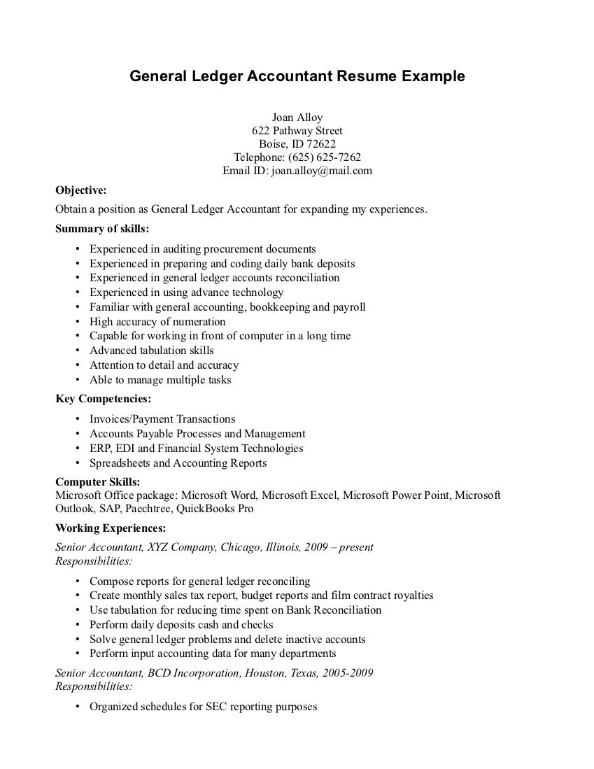 General Ledger Accountant Resume Example Page The Nature Being Manager  Baseball Team That