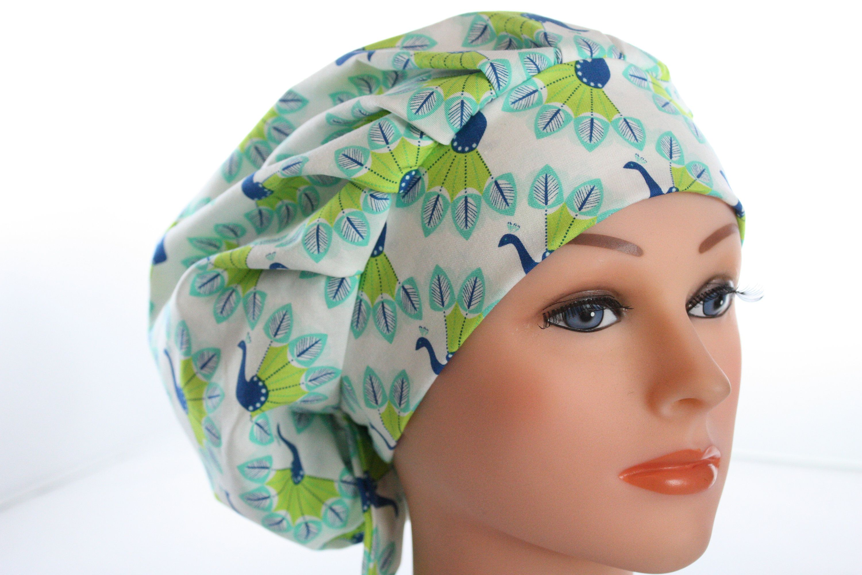 95110f981e6 ... new style scrub cap surgical bouffant hat chef dentist tie back bluesy  peacocks free u.s. shipping
