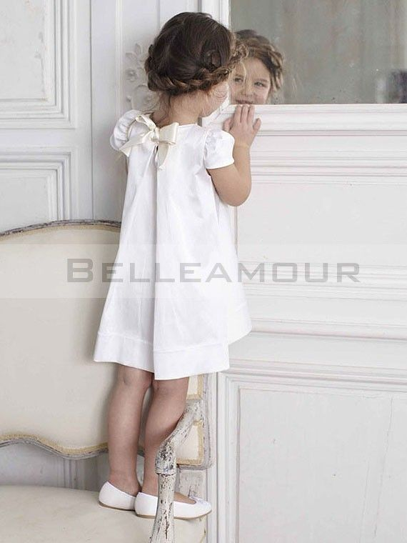 robe de cort ge enfant blanche manches courte noeud couture filles pinterest communion. Black Bedroom Furniture Sets. Home Design Ideas