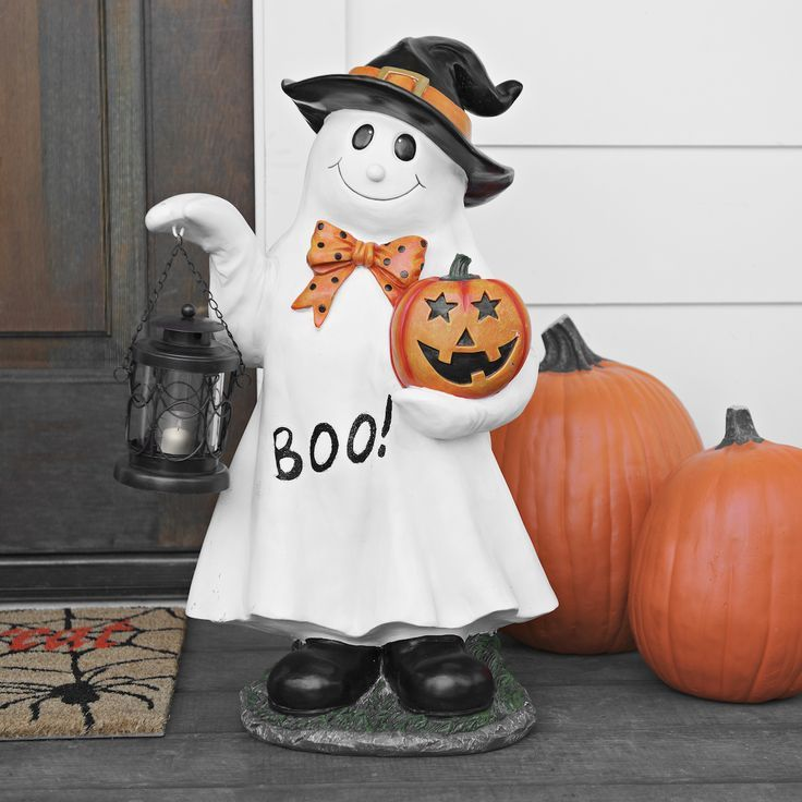 Pumpkin and Ghost Statue with Lantern Halloween displays - halloween statues