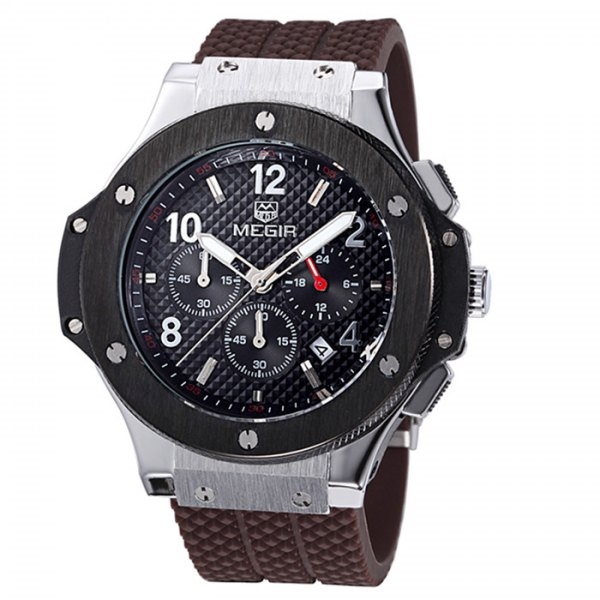 33.47$  Watch now - http://didk5.justgood.pw/go.php?t=136819602 - MEGIR 3002 Male Japan Quartz Watch with Date Function Silicone Band Luminous Pointer 30M Water Resistance