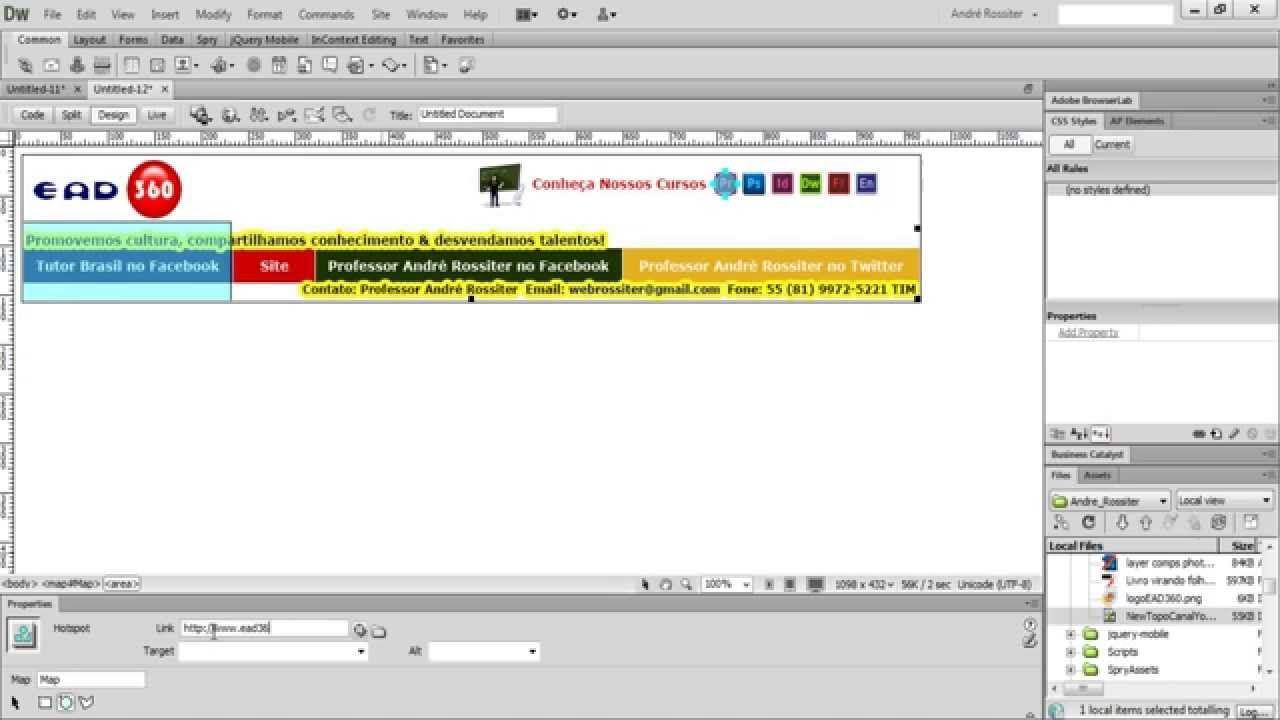 Vídeo aula Web Design com Adobe Dreamweaver CS6. Imagem como mapa de lin...
