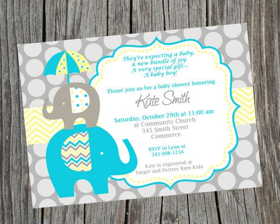 Turquoise And Yellow Elephant Baby Shower Invitation Printable Baby
