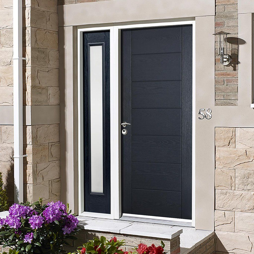 Grp Grey Modica Composite Door Frosted Single Sidelight Exterior Doors Main Door Design Exterior Doors With Sidelights