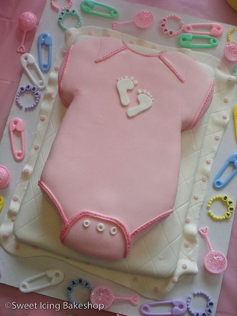 Blanket And Onesie Baby Shower Cake Twin Boy And Girl