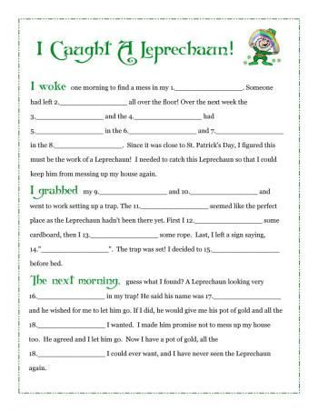 I Caught A Leprechaun Free Fill In Blank Printable Story Schoolin