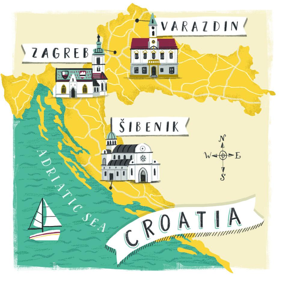 Croatia Map Illustration For Metro Newspaper Www Lizkay Co Uk Illustrated Map Croatia Map Travel Art Journal