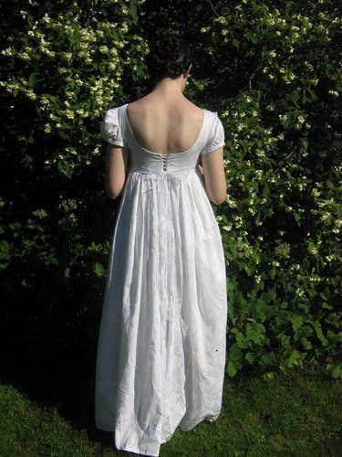 Regency era dress. Love the low back and the laces; so romantic ...