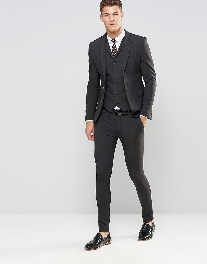 Image 1 of ASOS Super Skinny Fit Suit In Charcoal