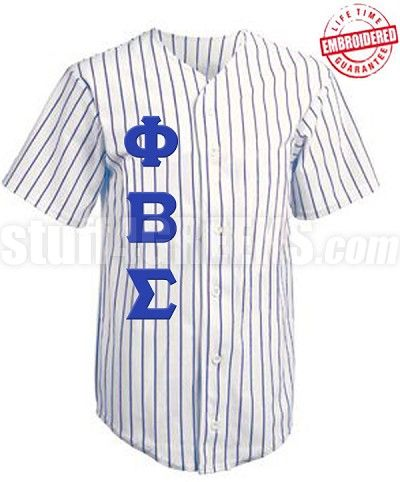 f2f6b6e7dca Fully customizable Greek fraternity and sorority cloth baseball jerseys  with pinstripe. Choose your text and icons. Add to the front