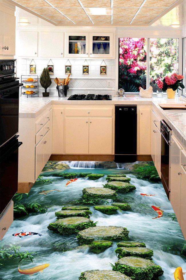 rev tement de sol paysage trompe l 39 il effet 3d pas japonais dans la rivi re avec les poissons. Black Bedroom Furniture Sets. Home Design Ideas