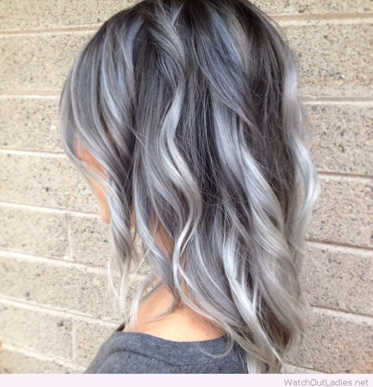 Silver Gray Black Ombre Hair Color My Style Pinterest Black