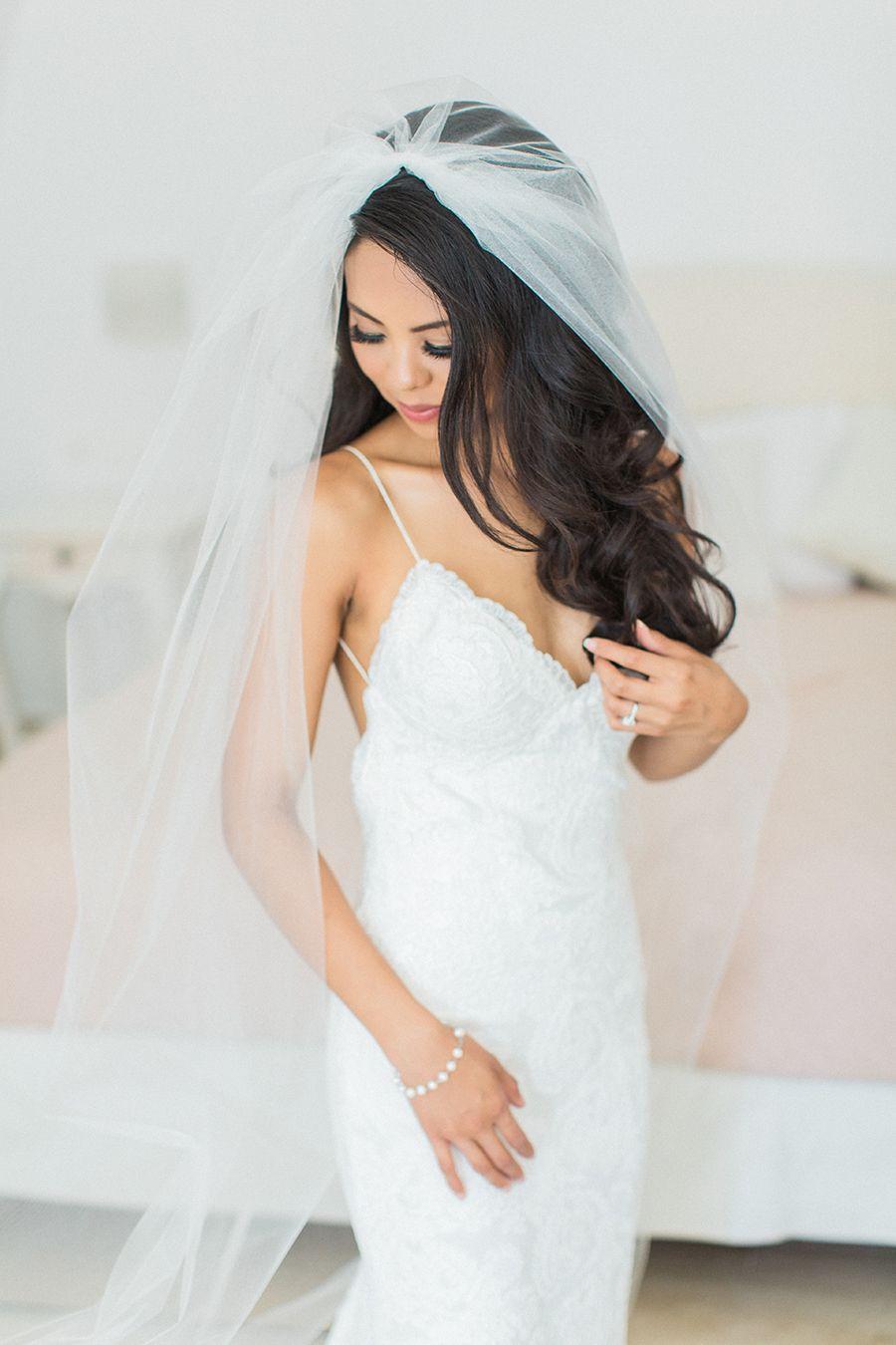 Sun-Soaked Santorini Wedding   Veil, Black books and Wedding dress
