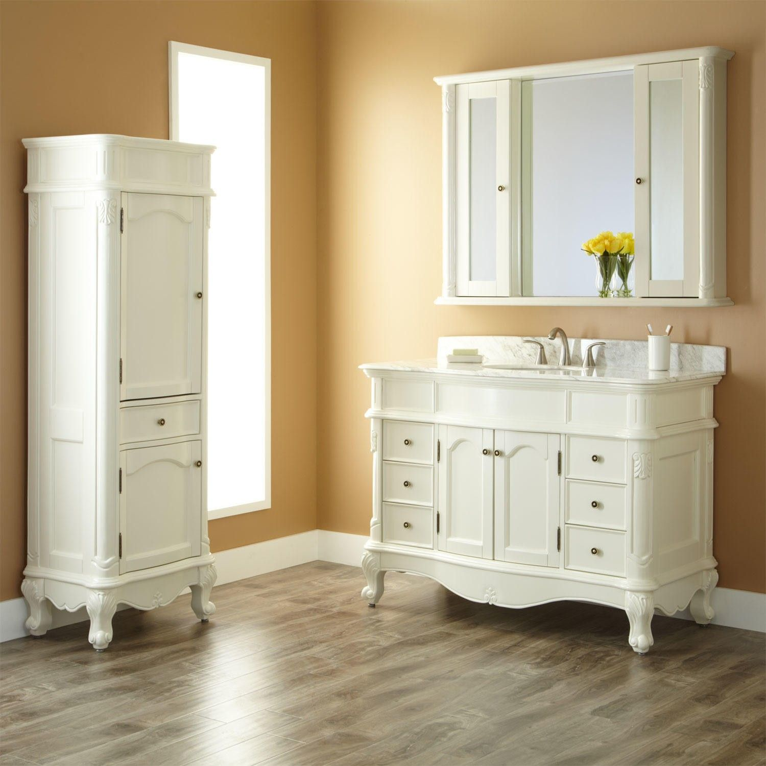 48 Sedwick Creamy White Vanity With Carrara Marble Top Medicine Cabinet And Linen