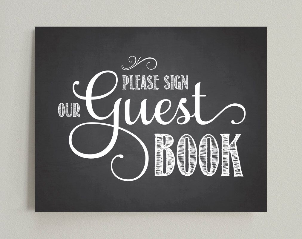 Please Sign Our Guest Book Wedding Printable Sign  Pdf Instant