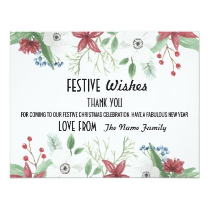 Festive Holidays Thank You Cards Merry Christmas  Xmascards