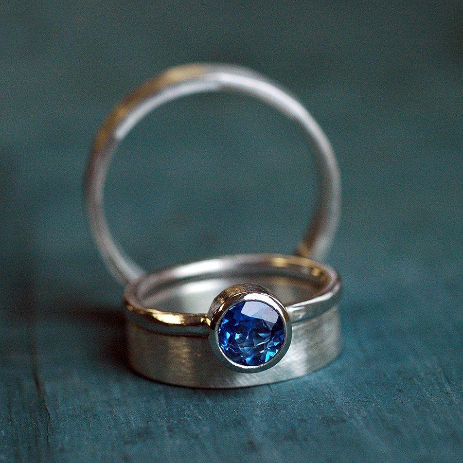 wedding ring set - wedding ring set his her - wedding rings - blue