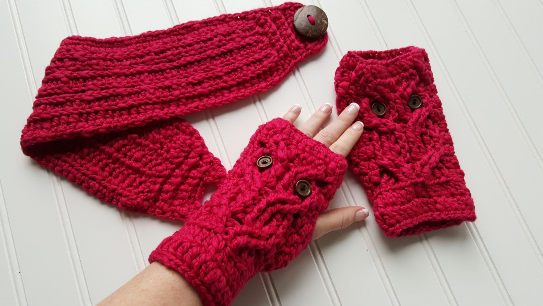 Owl Fingerless Mitts, knit Headband ear warmer, crochet fingerless ...