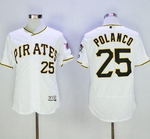 best sneakers ef458 ee471 Pirates #25 Gregory Polanco White Flexbase Authentic ...