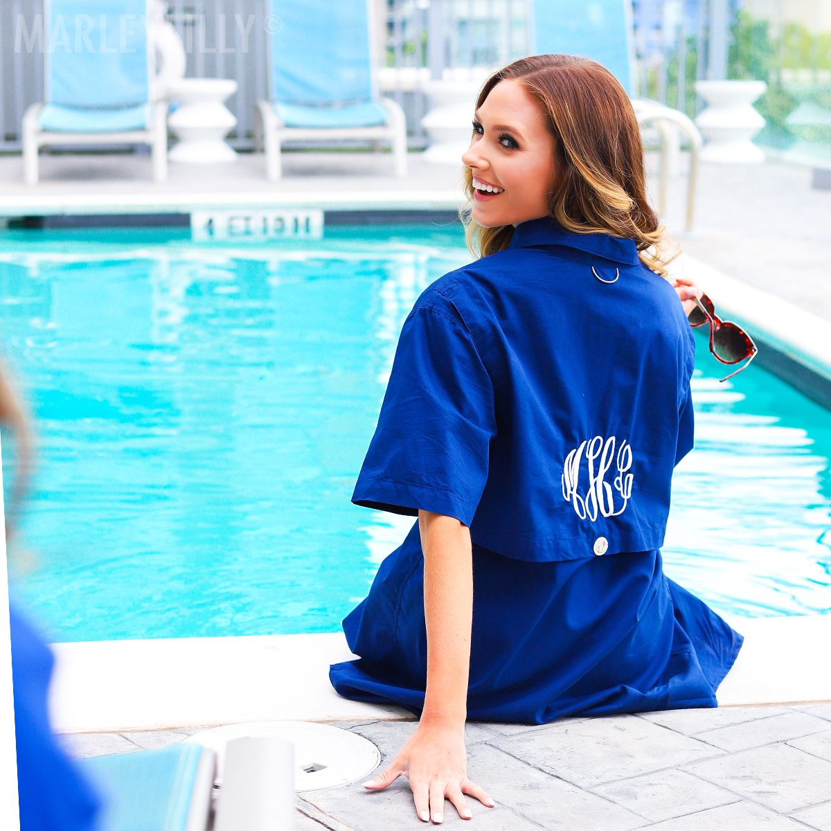 305e705939752 The Monogrammed Fishing Shirt in Navy makes for a perfect coverup for those  days by the pool with your girls! #summertimefun #coverups