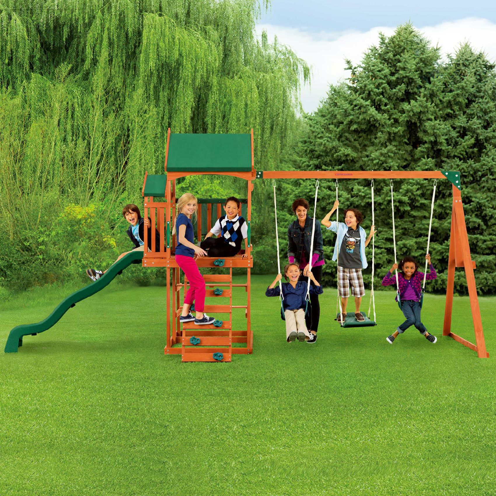 Timber Play Ii Swing Set With Balcony Garden Makeover Ideas