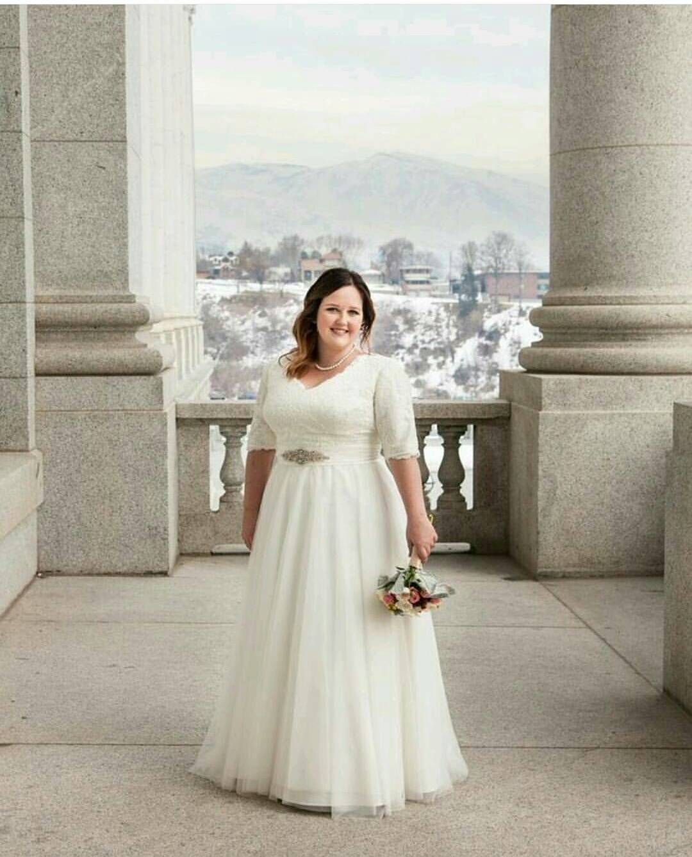 Utah Rental wedding dress. Modest, lace, lds wedding dress ...