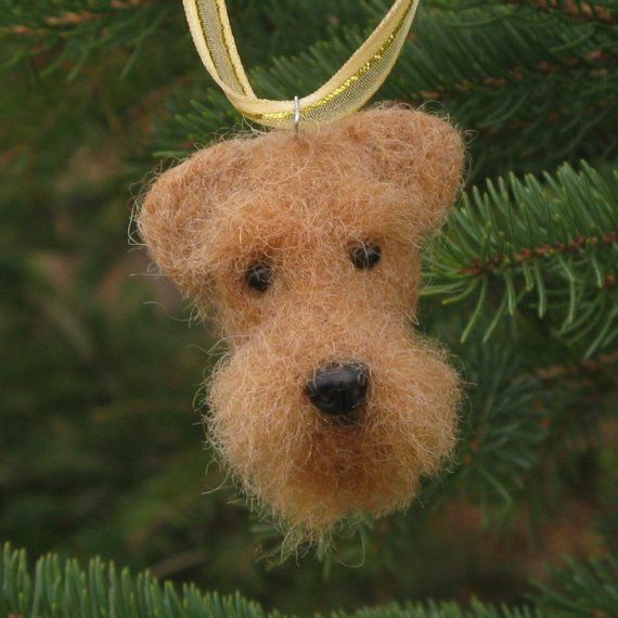 Needle Felted Airedale Terrier Dog Christmas Tree by KaysK9s