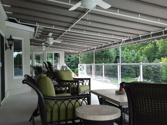 Silica Gray Sunbrella fabric deck canopy with three white ceiling fans & Silica Gray Sunbrella fabric deck canopy with three white ceiling ...