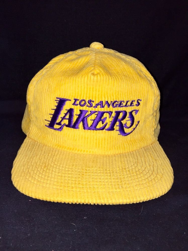 size 40 14ca6 1701b Vintage LA Lakers Sports Specialties The Cord Corduroy Hat New Without Tags