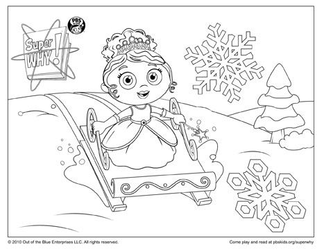 Super Why Coloring Page Princess Presto Sledding Parents and Pbs kids - new free coloring pages for father's day