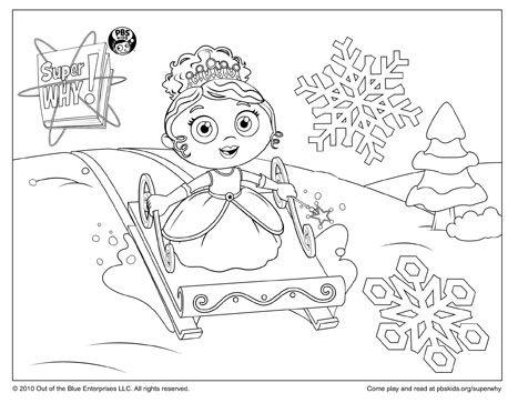 Super Why Coloring Page: Princess Presto Sledding | Parents and Pbs kids
