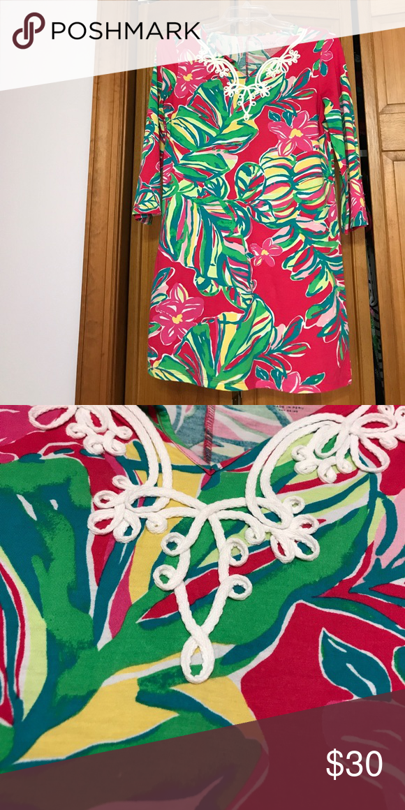 Lilly Pulitzer kids dress Hot pink, green, blue, yellow adorable kids dress. Quarter length sleeves. Great condition. Only worn 2 times. Lilly Pulitzer Dresses Mini