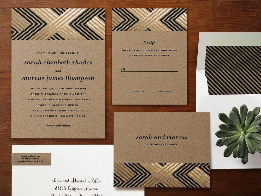 Braided #Chevron Foil-Pressed #Wedding #Invitations