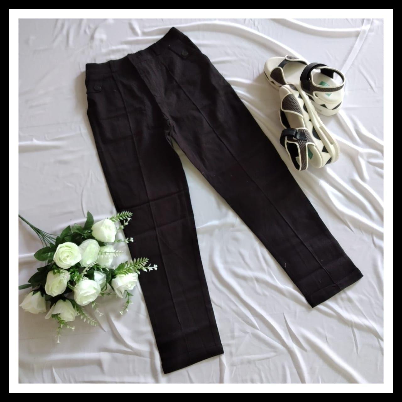 Celana Basic Pants Baggy Pants Kain Katun Twill Import Cod Black Celana Wanita Kain
