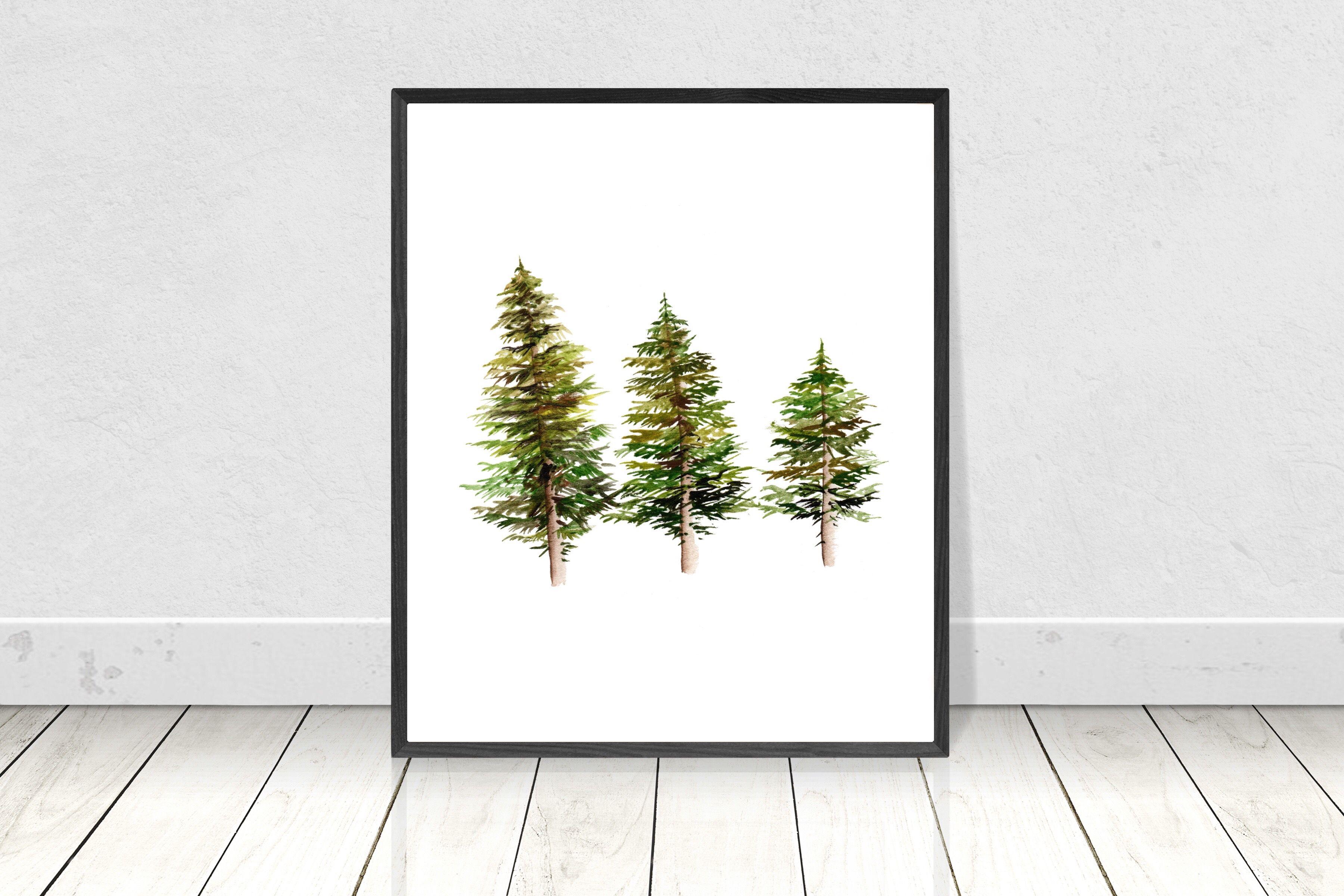 Scandinavian Pine Tree Poster Pine Tree Painting Tree Watercolor Painting Scandinavian Paintings