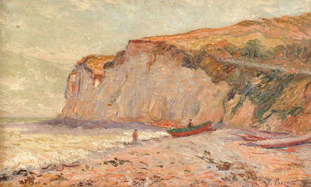 """Description Jacinthe POZIER (1844-1915) """"La falaise à St Pierre en Port"""" hst sbd 33x55 Estim. 1500€"""
