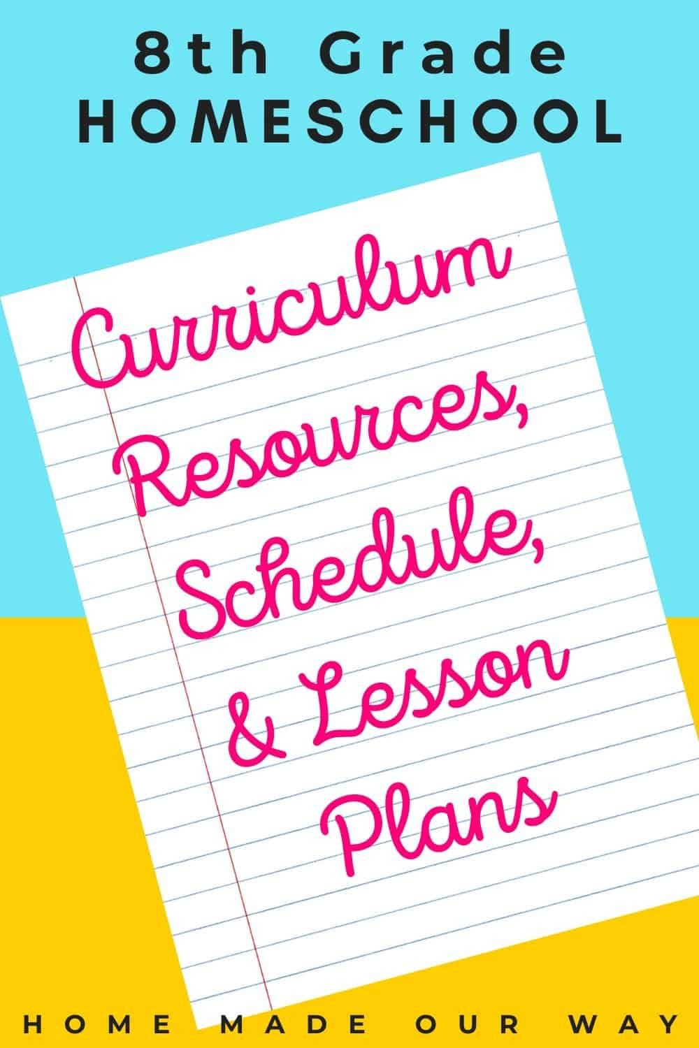 Photo of 8th Grade Homeschool Curriculum Resources, Schedule, and Lesson Plans